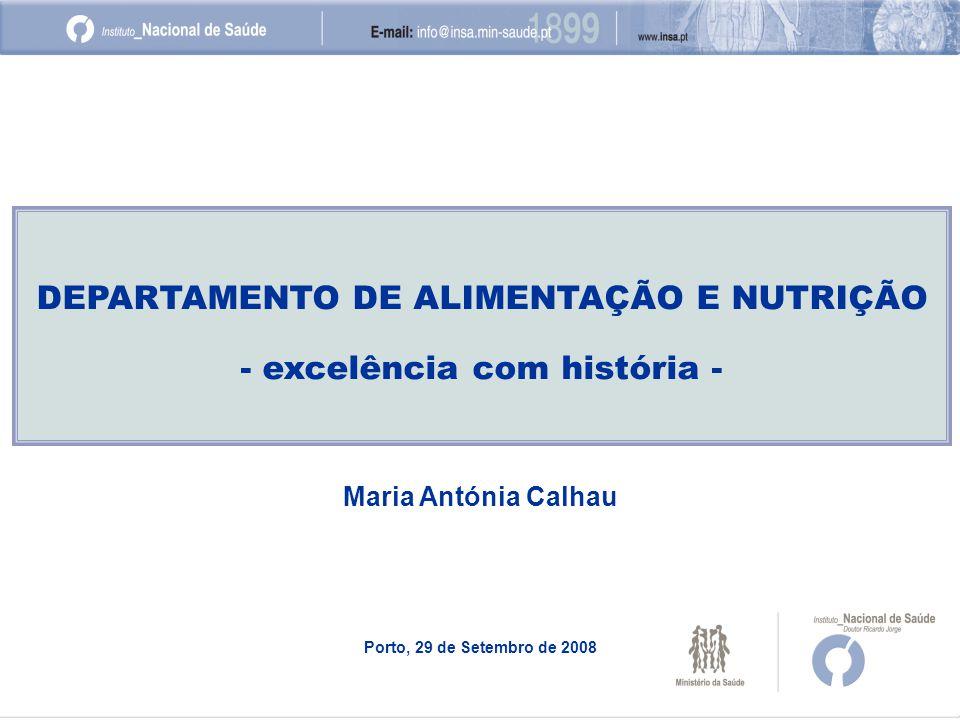 DEPARTAMENTO DE ALIMENTAÇÃO E NUTRIÇÃO - excelência com história - Maria Antónia Calhau Porto, 29 de Setembro de 2008