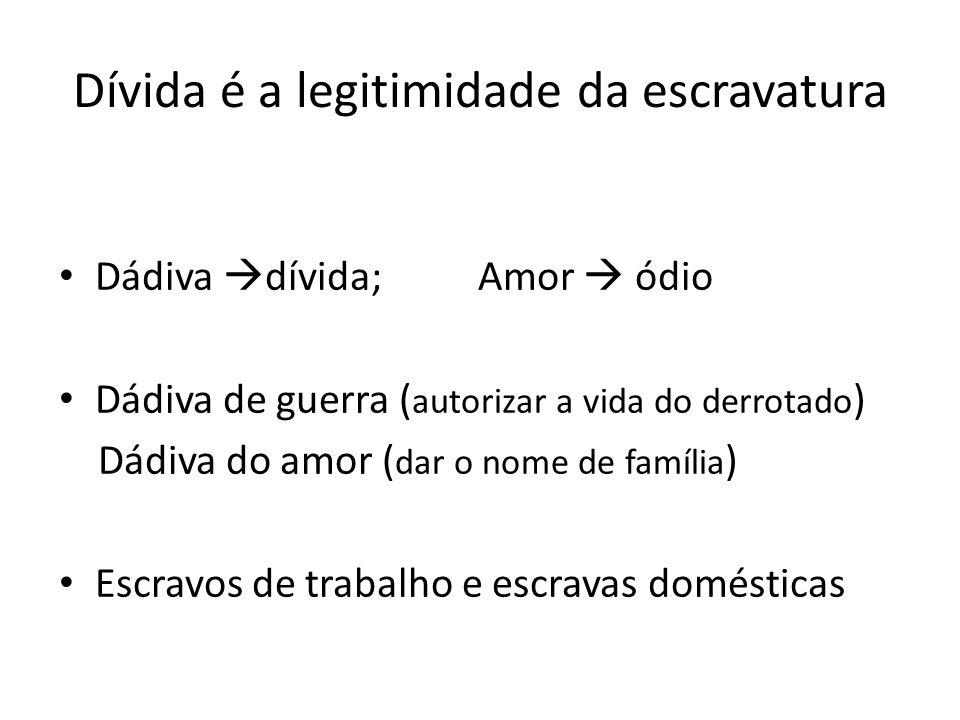 Dívida é a legitimidade da escravatura Dádiva dívida; Amor ódio Dádiva de guerra ( autorizar a vida do derrotado ) Dádiva do amor ( dar o nome de família ) Escravos de trabalho e escravas domésticas