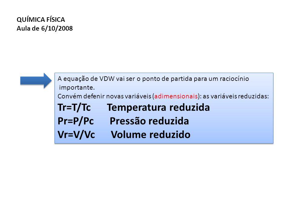 A equação de VDW vai ser o ponto de partida para um raciocínio importante. Convém defenir novas variáveis (adimensionais): as variáveis reduzidas: Tr=