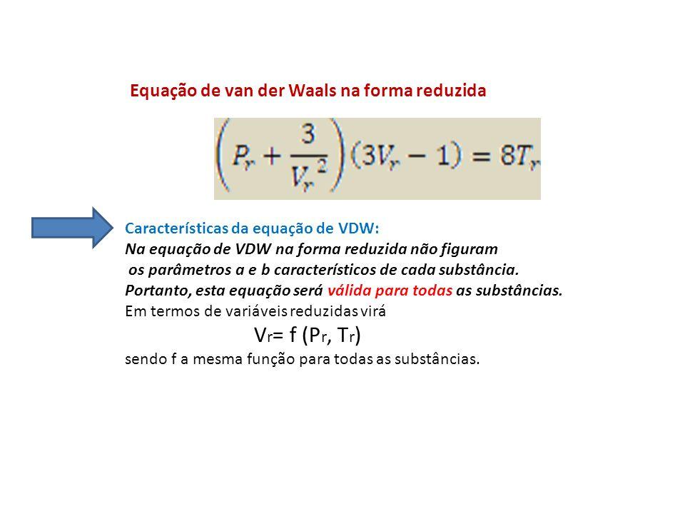 Características da equação de VDW: Na equação de VDW na forma reduzida não figuram os parâmetros a e b característicos de cada substância. Portanto, e