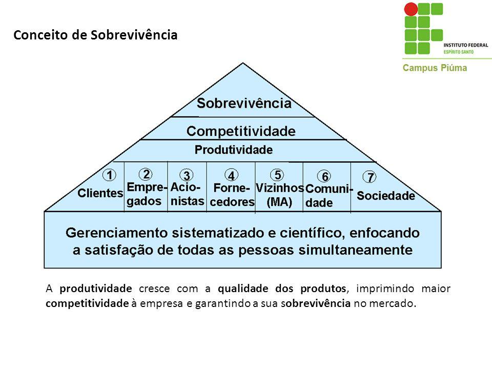 Conceito de Sobrevivência A produtividade cresce com a qualidade dos produtos, imprimindo maior competitividade à empresa e garantindo a sua sobrevivê