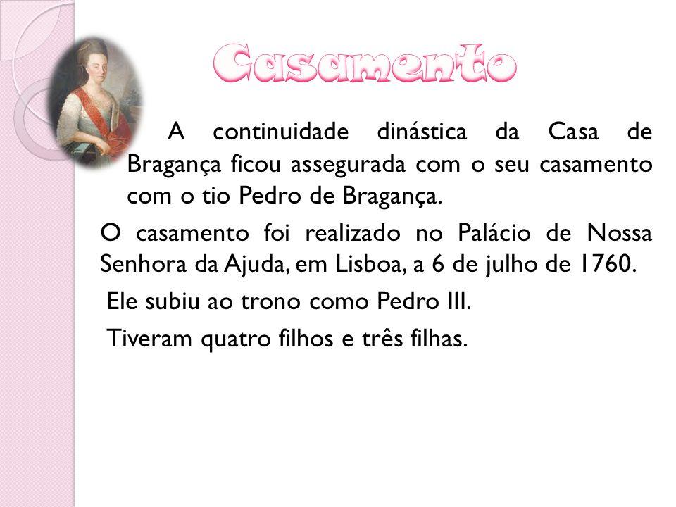 A continuidade dinástica da Casa de Bragança ficou assegurada com o seu casamento com o tio Pedro de Bragança. O casamento foi realizado no Palácio de