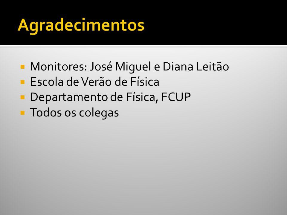 Monitores: José Miguel e Diana Leitão Escola de Verão de Física Departamento de Física, FCUP Todos os colegas