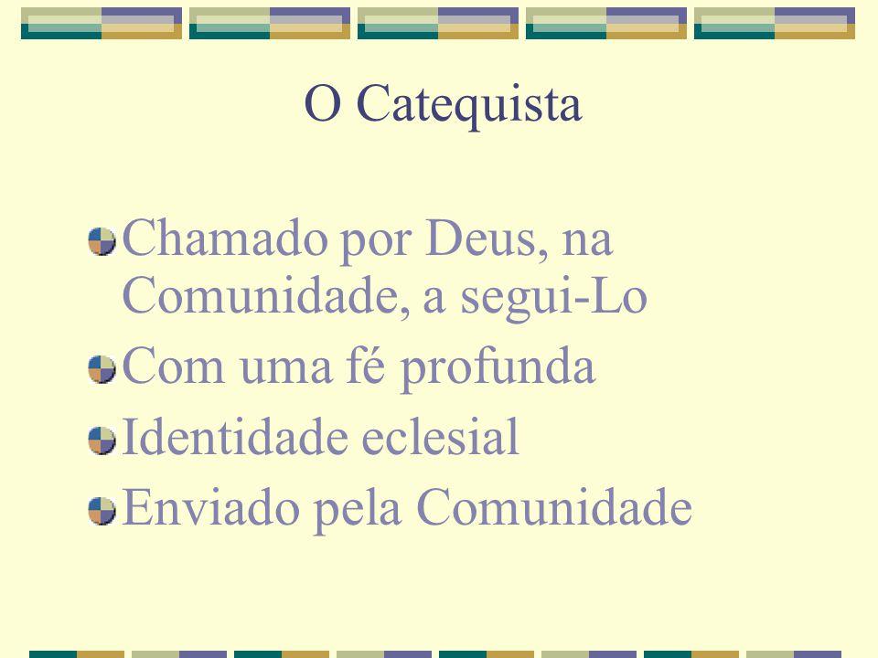 O Catequista Chamado por Deus, na Comunidade, a segui-Lo Com uma fé profunda Identidade eclesial Enviado pela Comunidade