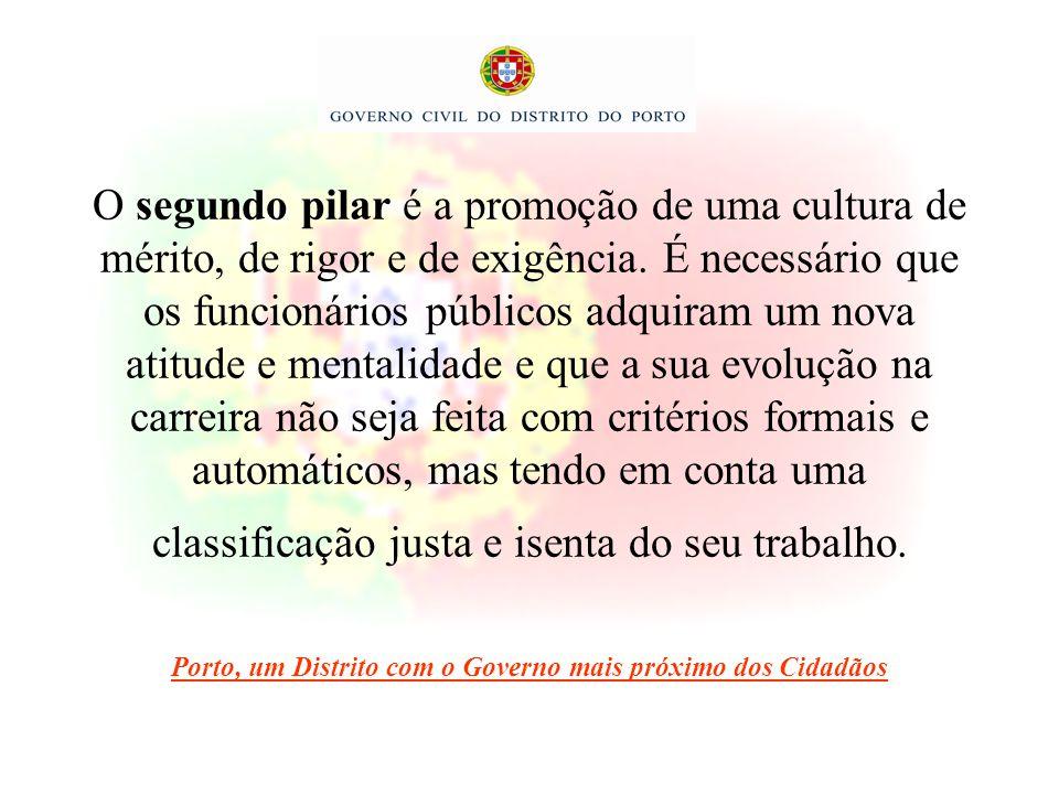 O segundo pilar é a promoção de uma cultura de mérito, de rigor e de exigência. É necessário que os funcionários públicos adquiram um nova atitude e m