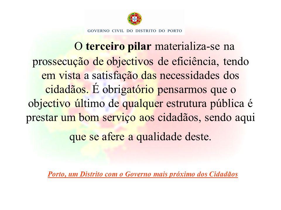 O terceiro pilar materializa-se na prossecução de objectivos de eficiência, tendo em vista a satisfação das necessidades dos cidadãos. É obrigatório p