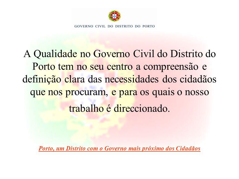 A Qualidade no Governo Civil do Distrito do Porto tem no seu centro a compreensão e definição clara das necessidades dos cidadãos que nos procuram, e