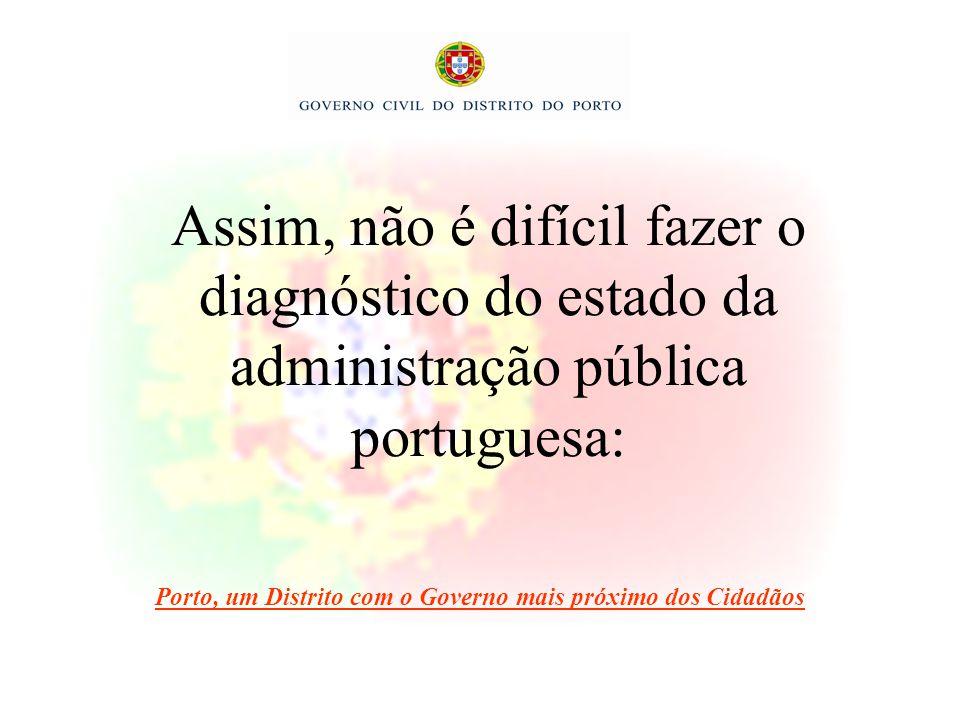 Assim, não é difícil fazer o diagnóstico do estado da administração pública portuguesa: Porto, um Distrito com o Governo mais próximo dos Cidadãos