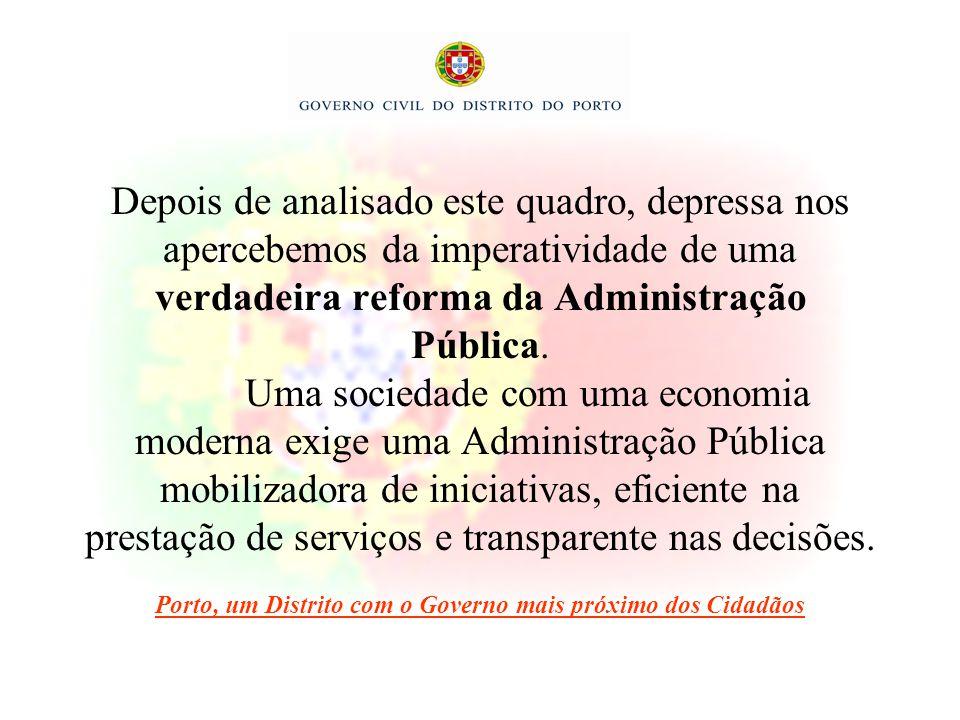 Depois de analisado este quadro, depressa nos apercebemos da imperatividade de uma verdadeira reforma da Administração Pública. Uma sociedade com uma