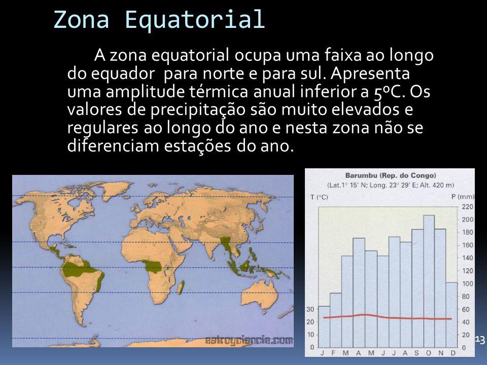 Zona Equatorial A zona equatorial ocupa uma faixa ao longo do equador para norte e para sul. Apresenta uma amplitude térmica anual inferior a 5ºC. Os