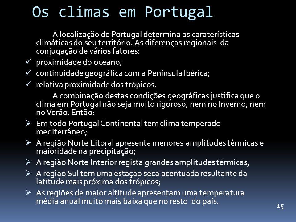 Os climas em Portugal A localização de Portugal determina as caraterísticas climáticas do seu território. As diferenças regionais da conjugação de vár