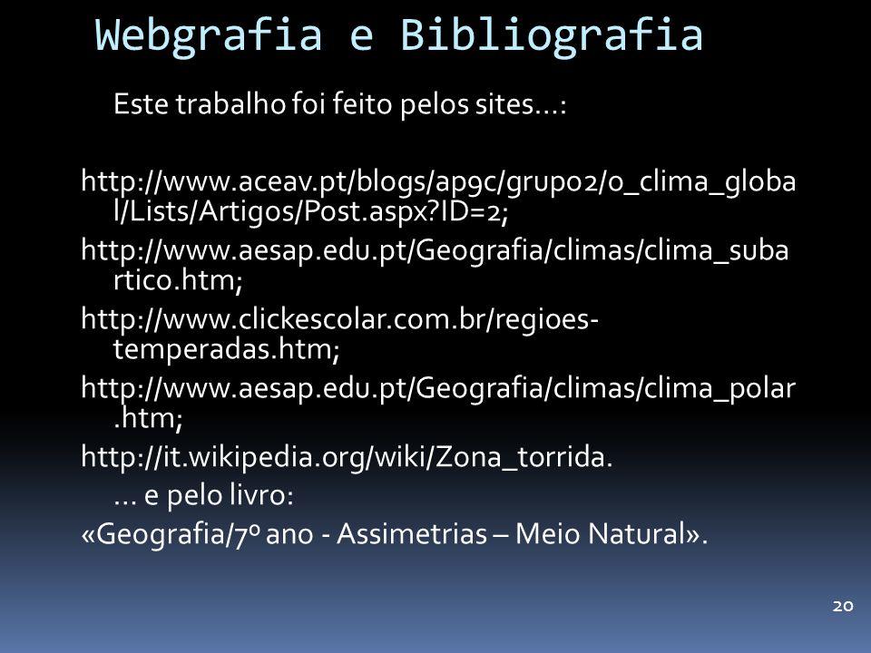Webgrafia e Bibliografia Este trabalho foi feito pelos sites…: http://www.aceav.pt/blogs/ap9c/grupo2/o_clima_globa l/Lists/Artigos/Post.aspx?ID=2; htt
