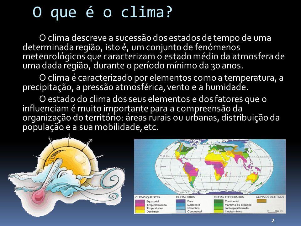 O que é o clima? O clima descreve a sucessão dos estados de tempo de uma determinada região, isto é, um conjunto de fenómenos meteorológicos que carac