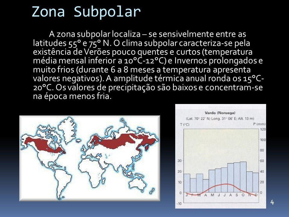 Zona Subpolar A zona subpolar localiza – se sensivelmente entre as latitudes 55° e 75° N. O clima subpolar caracteriza-se pela existência de Verões po