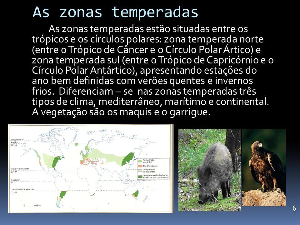 As zonas temperadas As zonas temperadas estão situadas entre os trópicos e os círculos polares: zona temperada norte (entre o Trópico de Câncer e o Cí