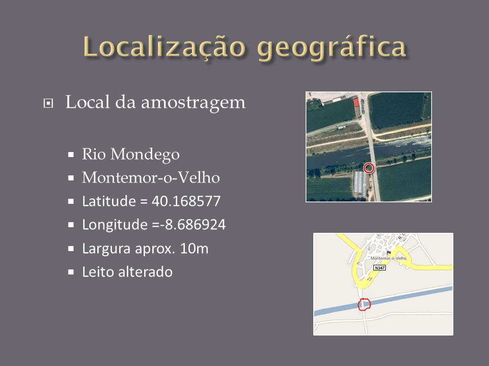 Local da amostragem Rio Mondego Montemor-o-Velho Latitude = 40.168577 Longitude =-8.686924 Largura aprox.