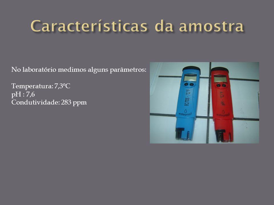 No laboratório medimos alguns parâmetros: Temperatura: 7,3ºC pH : 7,6 Condutividade: 283 ppm