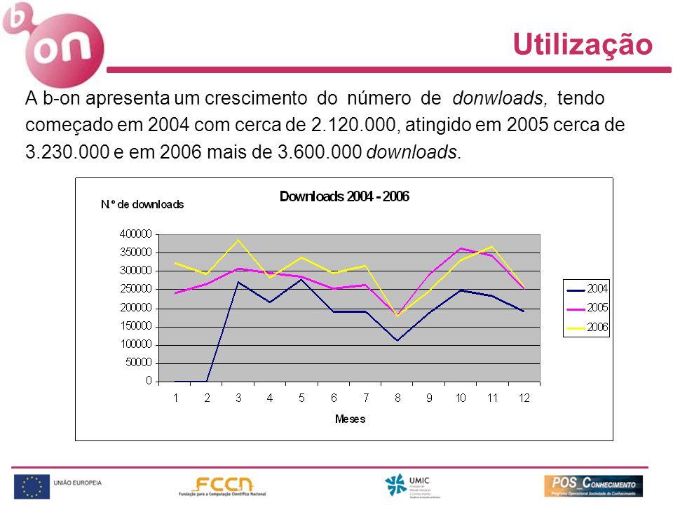 Utilização A b-on apresenta um crescimento do número de donwloads, tendo começado em 2004 com cerca de 2.120.000, atingido em 2005 cerca de 3.230.000 e em 2006 mais de 3.600.000 downloads.