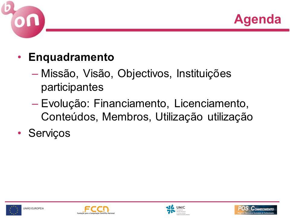 Agenda Enquadramento –Missão, Visão, Objectivos, Instituições participantes –Evolução: Financiamento, Licenciamento, Conteúdos, Membros, Utilização utilização Serviços