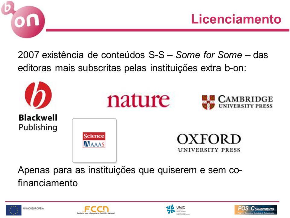 2007 existência de conteúdos S-S – Some for Some – das editoras mais subscritas pelas instituições extra b-on: Apenas para as instituições que quiserem e sem co- financiamento Licenciamento