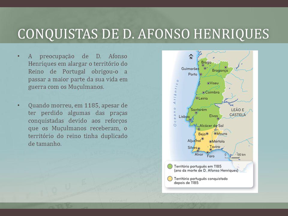 CONQUISTAS DE D. AFONSO HENRIQUESCONQUISTAS DE D. AFONSO HENRIQUES A preocupação de D. Afonso Henriques em alargar o território do Reino de Portugal o