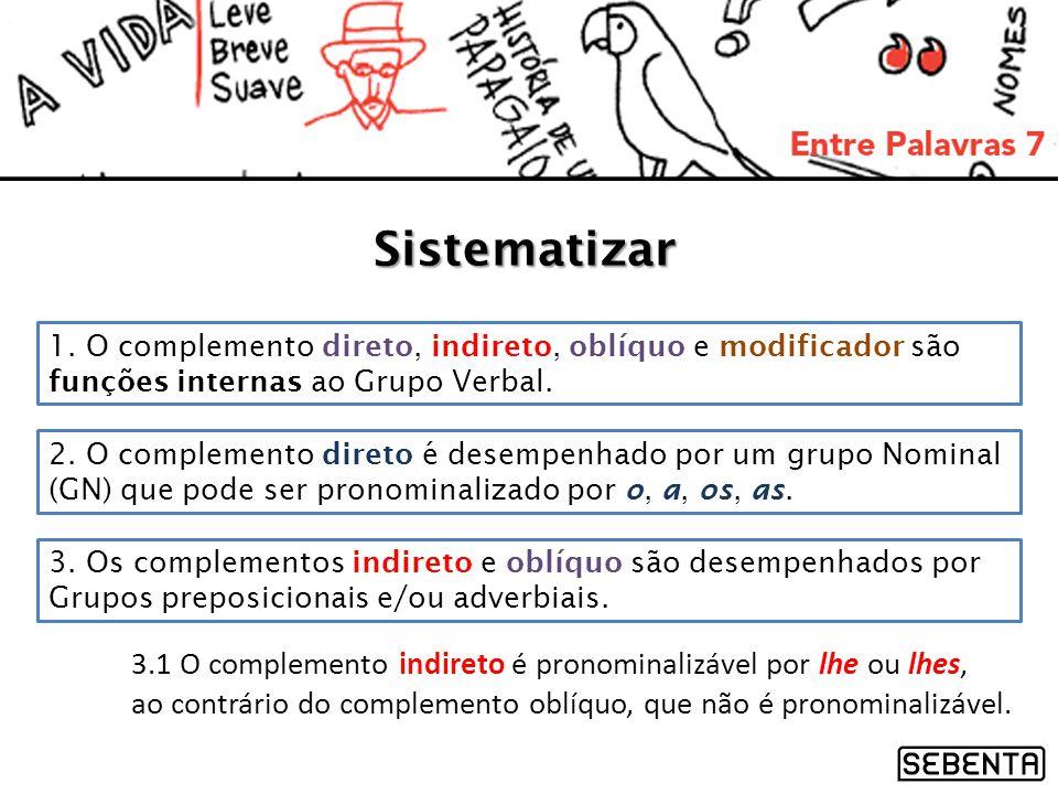 Sistematizar 1. O complemento direto, indireto, oblíquo e modificador são funções internas ao Grupo Verbal. 2. O complemento direto é desempenhado por