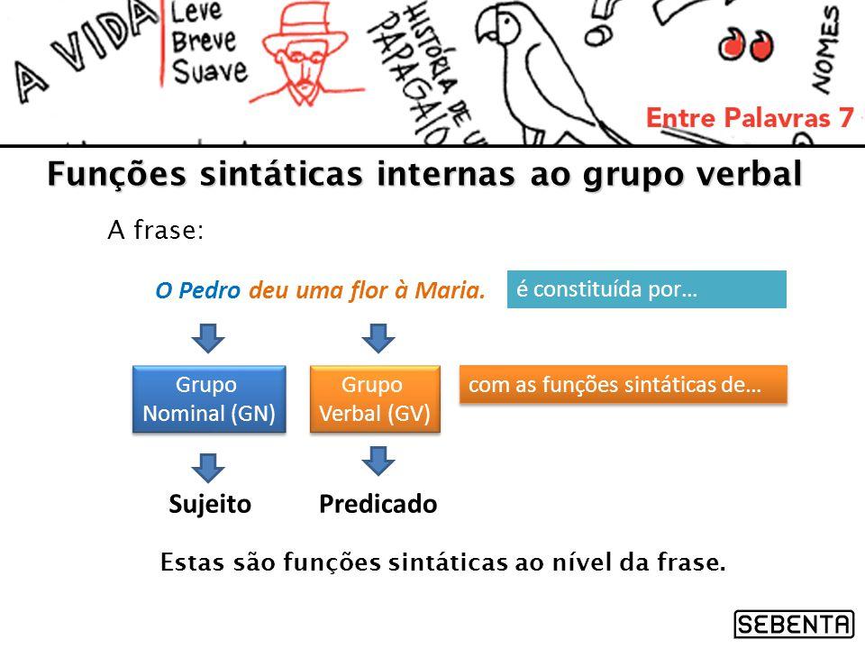 Funções sintáticas internas ao grupo verbal A frase: O Pedro deu uma flor à Maria. é constituída por… Grupo Nominal (GN) Grupo Nominal (GN) Grupo Verb