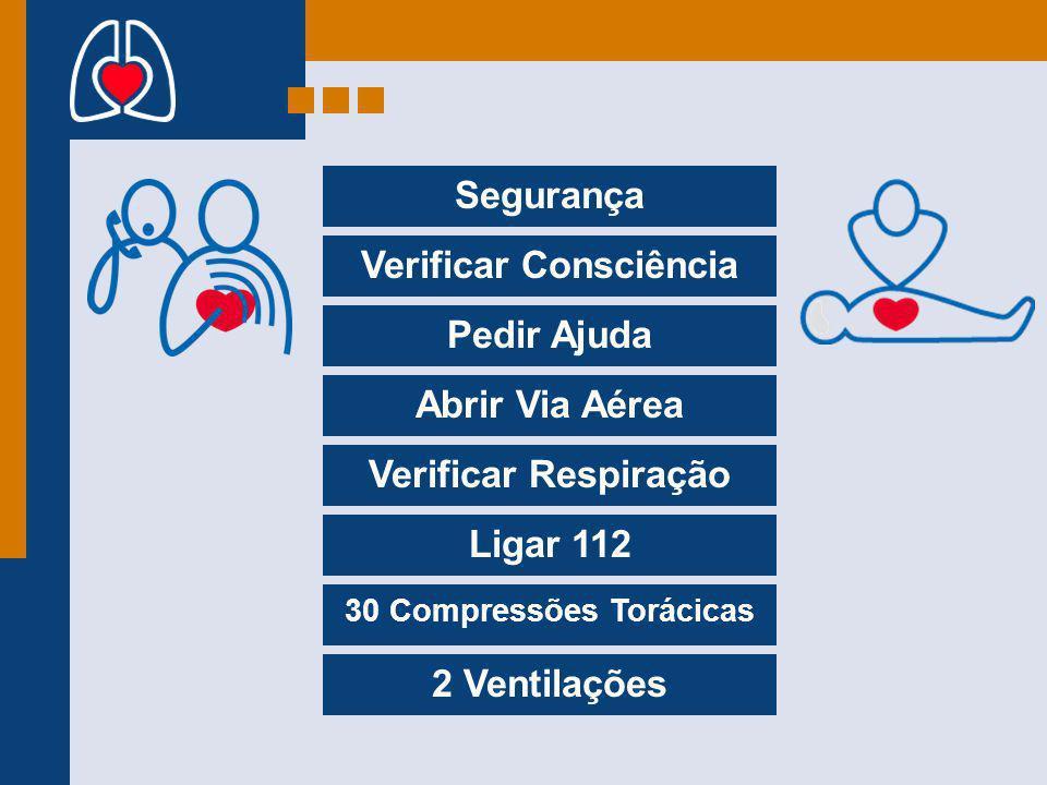 Segurança Verificar Consciência Pedir Ajuda Abrir Via Aérea Verificar Respiração Ligar 112 30 Compressões Torácicas 2 Ventilações