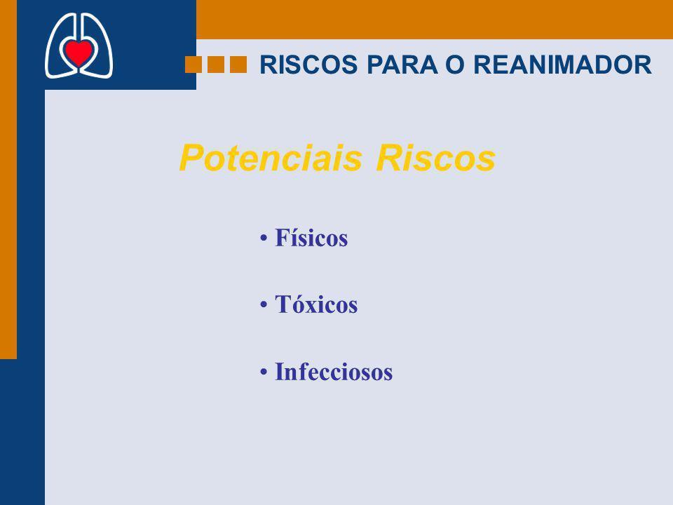 RISCOS PARA O REANIMADOR Potenciais Riscos Físicos Tóxicos Infecciosos