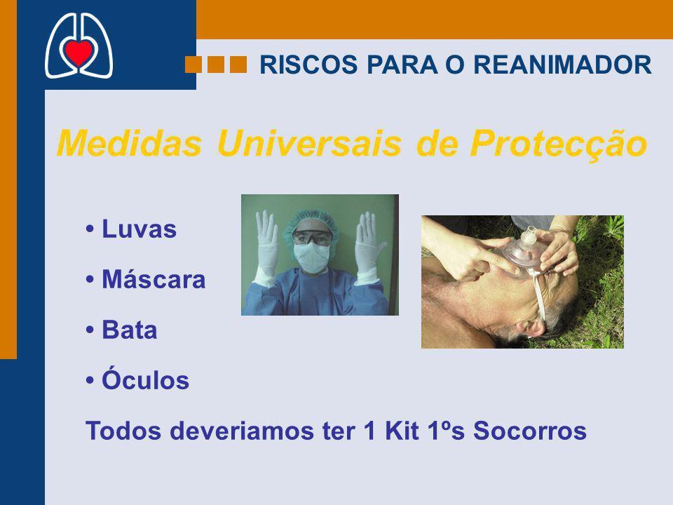 RISCOS PARA O REANIMADOR Medidas Universais de Protecção Luvas Máscara Bata Óculos Todos deveriamos ter 1 Kit 1ºs Socorros
