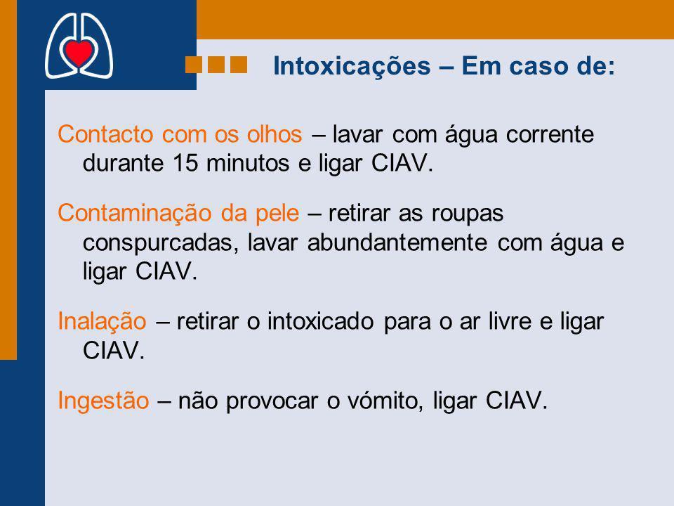 Intoxicações – Em caso de: Contacto com os olhos – lavar com água corrente durante 15 minutos e ligar CIAV. Contaminação da pele – retirar as roupas c