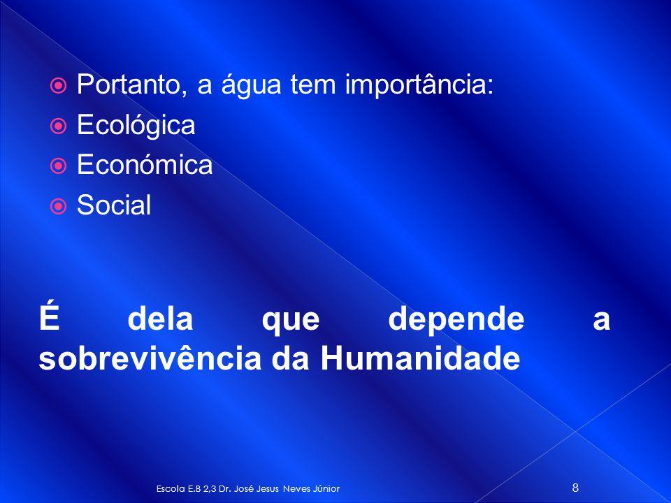 Portanto, a água tem importância: Ecológica Económica Social Escola E.B 2,3 Dr. José Jesus Neves Júnior 8 É dela que depende a sobrevivência da Humani
