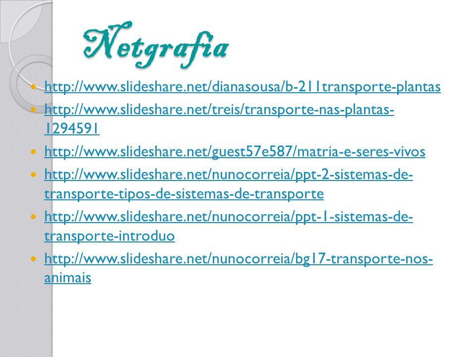 Netgrafia http://www.slideshare.net/dianasousa/b-211transporte-plantas http://www.slideshare.net/treis/transporte-nas-plantas- 1294591 http://www.slid