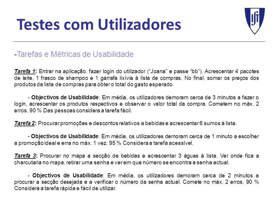 Testes com Utilizadores -Tarefas e Métricas de Usabilidade Tarefa 1: Entrar na aplicação, fazer login do utilizador (Joana e passe bb). Acrescentar 4