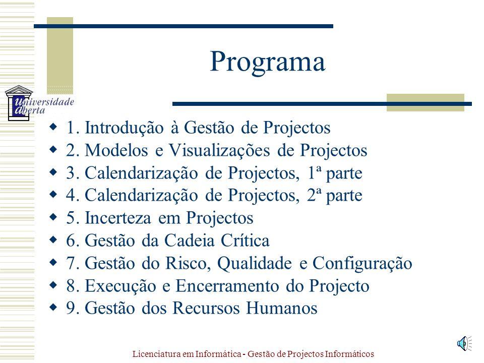 Licenciatura em Informática - Gestão de Projectos Informáticos Programa 1.