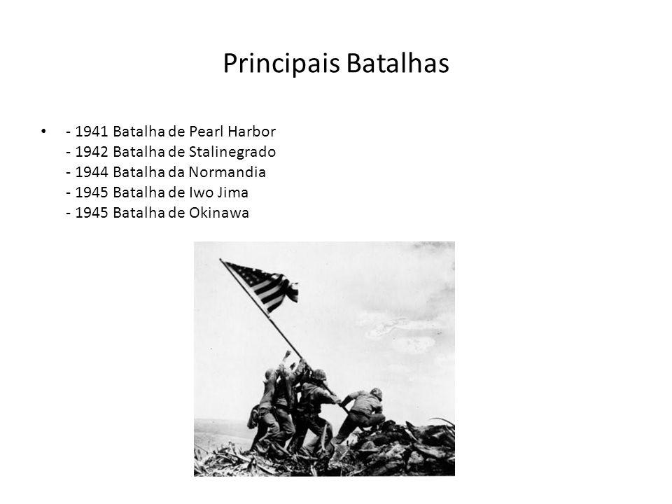 Principais Batalhas - 1941 Batalha de Pearl Harbor - 1942 Batalha de Stalinegrado - 1944 Batalha da Normandia - 1945 Batalha de Iwo Jima - 1945 Batalha de Okinawa