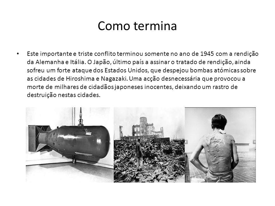 Como termina Este importante e triste conflito terminou somente no ano de 1945 com a rendição da Alemanha e Itália.