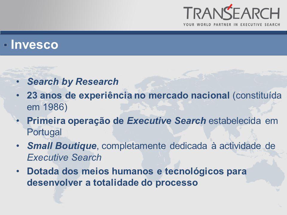Invesco Search by Research 23 anos de experiência no mercado nacional (constituída em 1986) Primeira operação de Executive Search estabelecida em Portugal Small Boutique, completamente dedicada à actividade de Executive Search Dotada dos meios humanos e tecnológicos para desenvolver a totalidade do processo