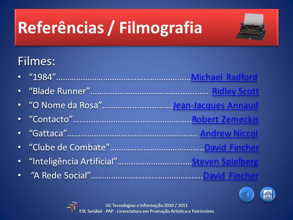 Referências / Filmografia Filmes: 1984………………………………………………...…Michael RadfordMichael Radford Blade Runner………………………………….........….