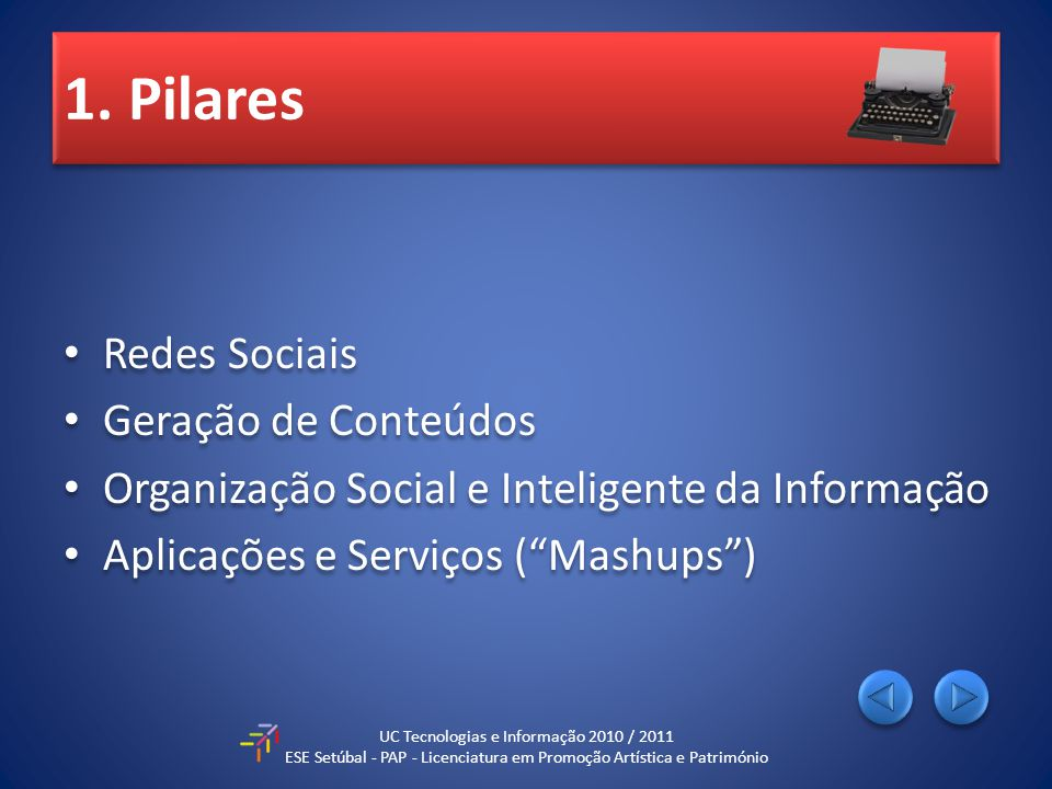 1. Pilares Redes Sociais Geração de Conteúdos Organização Social e Inteligente da Informação Aplicações e Serviços (Mashups) Redes Sociais Geração de