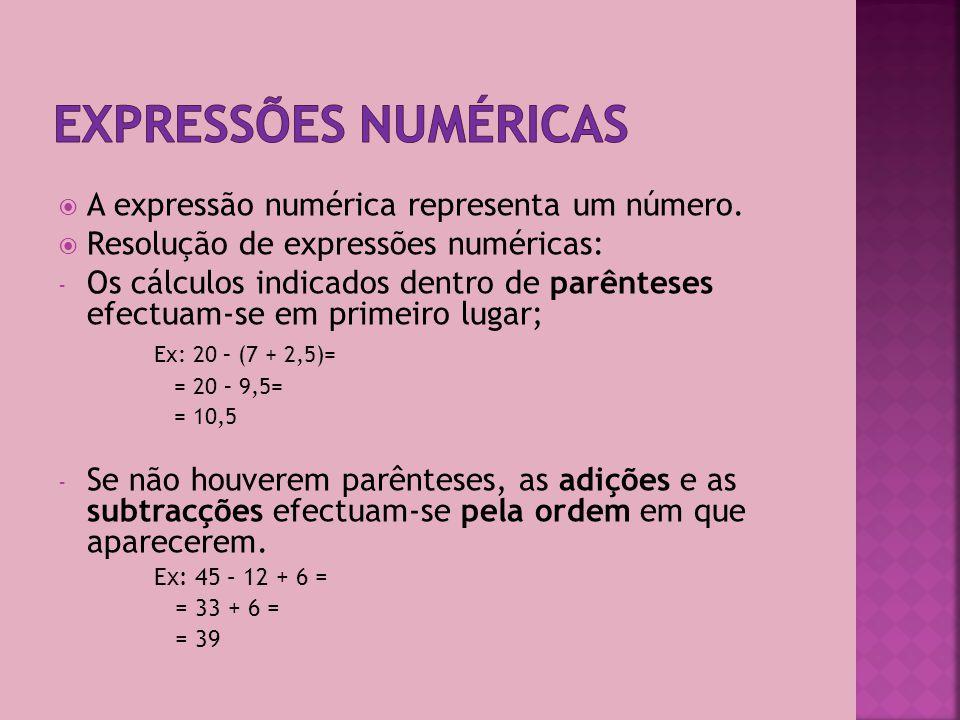 A subtracção é a operação inversa da adição e permite calcular a diferença entre dois números.