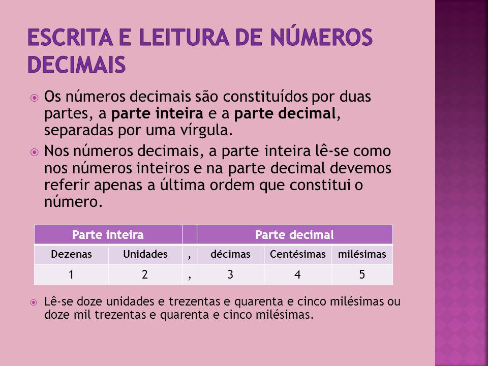 Para representar os números inteiros no sistema de numeração decimal usam-se dez símbolos: os algarismos 0,1,2,3,4,5,6,7,8 e 9.