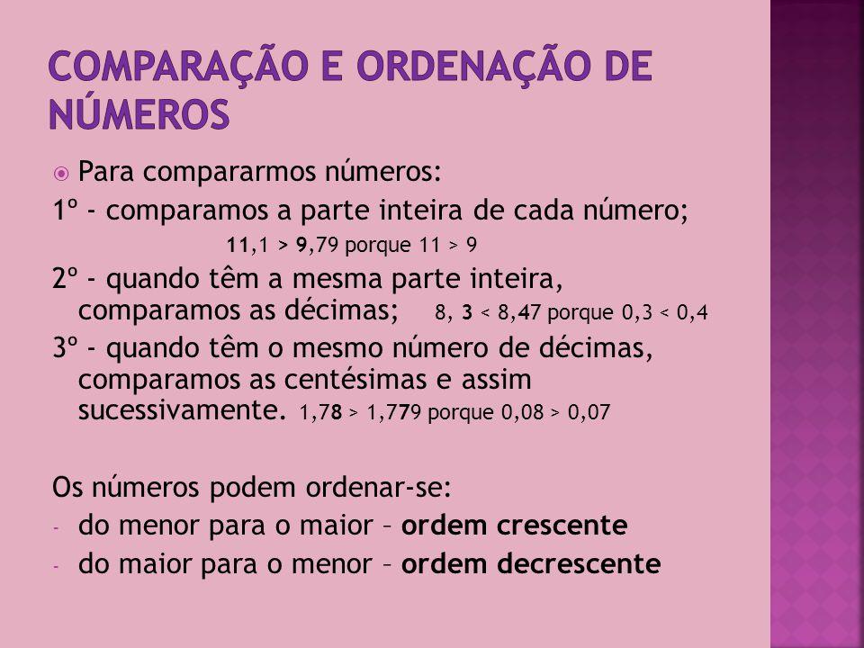 Os números decimais são constituídos por duas partes, a parte inteira e a parte decimal, separadas por uma vírgula.