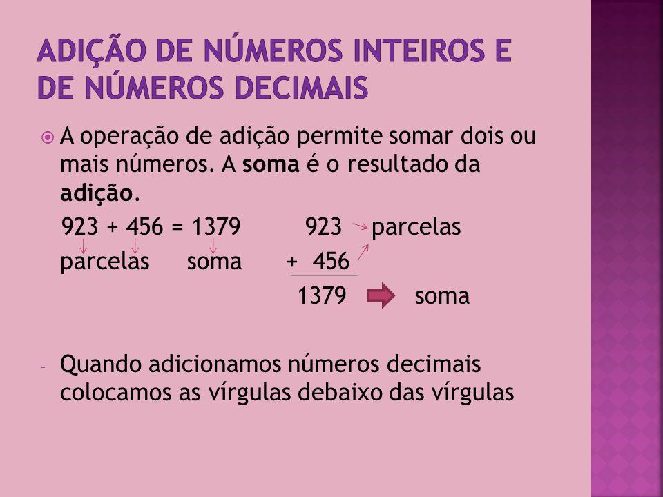 A operação de adição permite somar dois ou mais números.