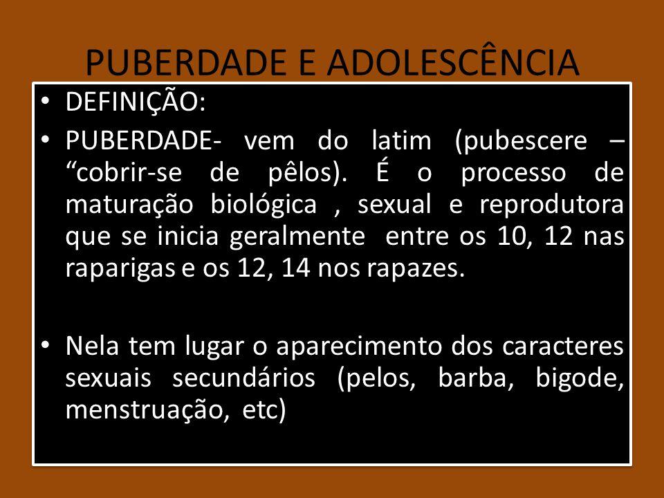 PUBERDADE E ADOLESCÊNCIA DEFINIÇÃO: PUBERDADE- vem do latim (pubescere – cobrir-se de pêlos). É o processo de maturação biológica, sexual e reprodutor