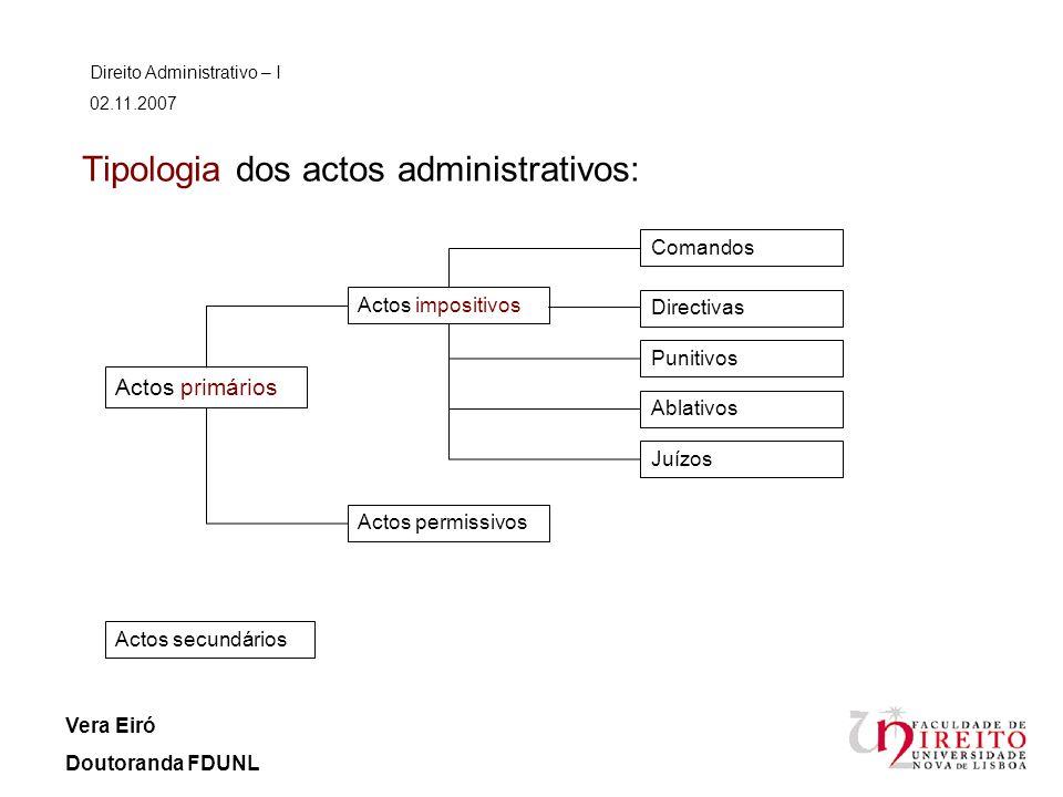 Tipologia dos actos administrativos: Direito Administrativo – I 02.11.2007 Vera Eiró Doutoranda FDUNL Actos primários Actos secundários Actos impositi