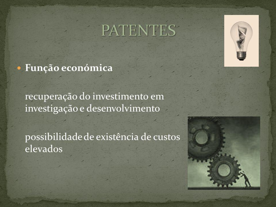 Função económica recuperação do investimento em investigação e desenvolvimento possibilidade de existência de custos elevados