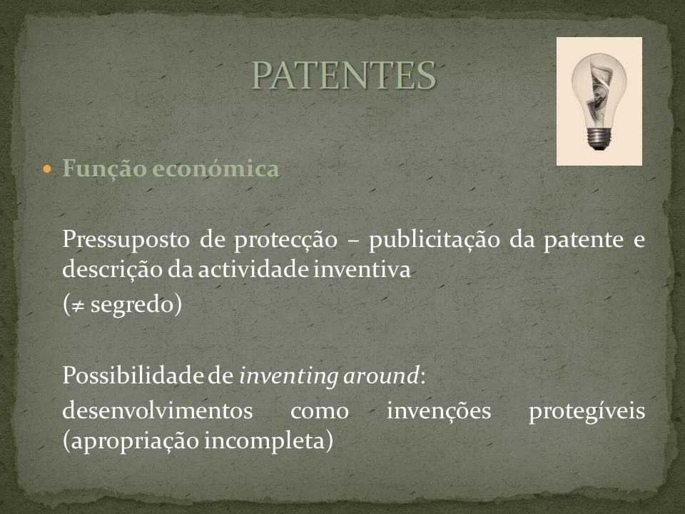 Função económica Pressuposto de protecção – publicitação da patente e descrição da actividade inventiva ( segredo) Possibilidade de inventing around: desenvolvimentos como invenções protegíveis (apropriação incompleta)