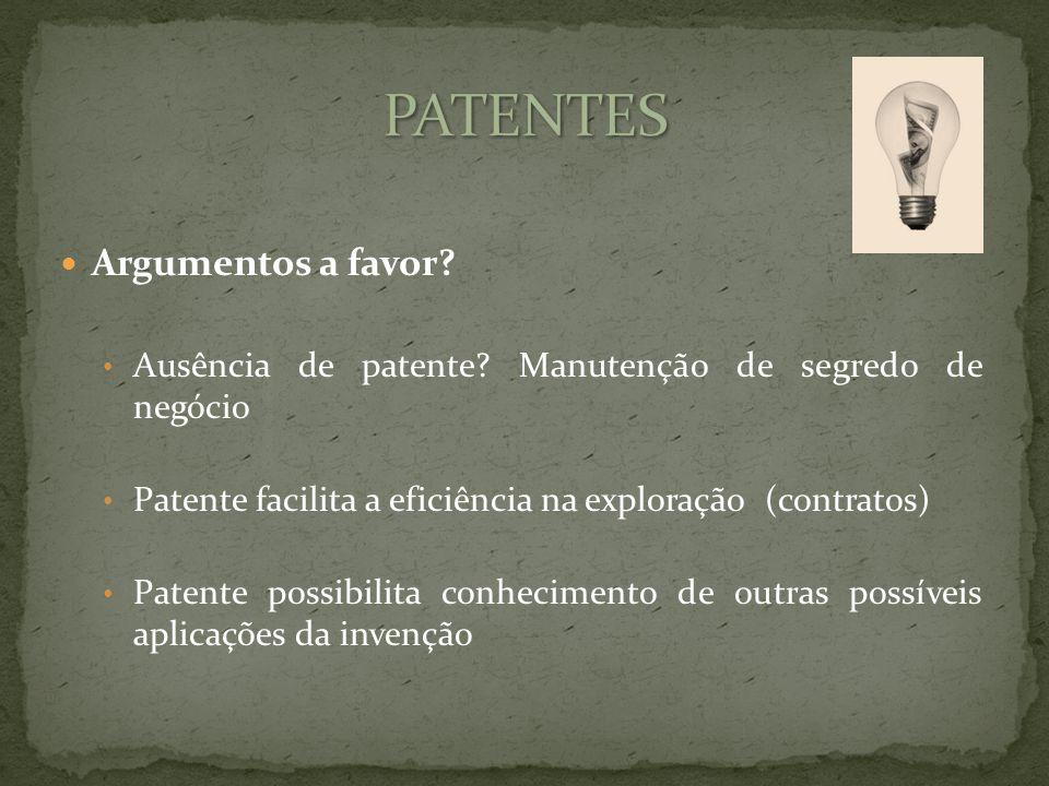 Argumentos a favor. Ausência de patente.