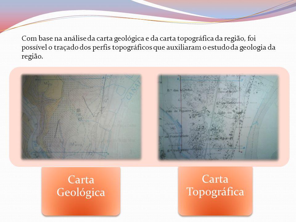 Com base na análise da carta geológica e da carta topográfica da região, foi possível o traçado dos perfis topográficos que auxiliaram o estudo da geologia da região.